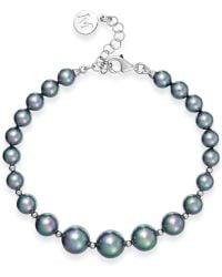 Majorica Sterling Silver Organic Man-made Gray Pearl Flex Bracelet - Lyst