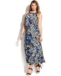Calvin Klein Plus Size Animalprint Keyhole Maxi Dress - Lyst