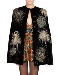 Saint Laurent Velvet Sequined Cape black - Lyst