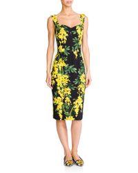 Dolce & Gabbana Mimosa-Print Sheath yellow - Lyst