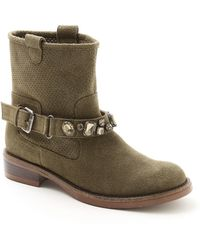 Kensie - Squire Crystal-accented Perforated Suede Boots - Lyst