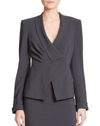 Armani Asymmetrical Stretch-Wool Jacket gray - Lyst