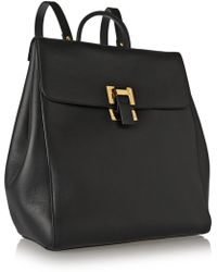 Sophie Hulme Soft Flap Leather Backpack - Lyst