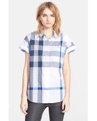Burberry Brit Check Print Short Sleeve Cotton Shirt - Lyst