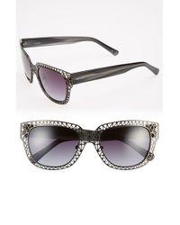 Kensie | 'marisa' 52mm Rectangle Sunglasses - Dark Gunmetal/ Grey Feather | Lyst