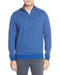 Bugatchi | Quarter Zip Mock Neck Knit Pullover | Lyst
