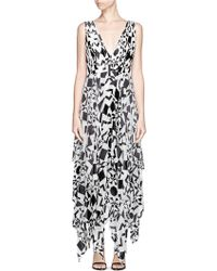Alice + Olivia 'Esmay' Diamond Print Pleat Chiffon Midi Dress multicolor - Lyst