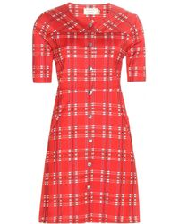 Maison Kitsuné - Checked Wool-Blend Mini Dress - Lyst