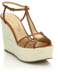 Sergio Rossi | Puzzle Suede, Leather & Raffia Platform Wedge Sandals | Lyst