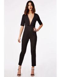 Missguided Plunge Tailored Jumpsuit Black - Lyst
