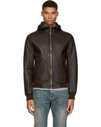 Dolce & Gabbana Dark Brown Ribbed Leather Hoodie - Lyst