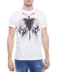 Diesel Butterfly-Print Short-Sleeved T-Shirt - Lyst