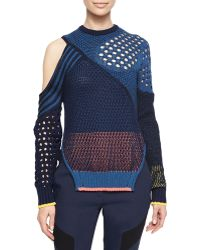 Prabal Gurung Cutout Colorblock Mixed-Knit Sweater - Lyst