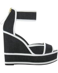 Pierre Hardy Denim Wedge Sandal Denim Wedge Sandal - Lyst
