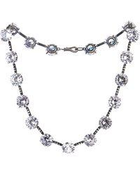 Bottega Veneta Oxidised-silver Crystal Necklace - Lyst