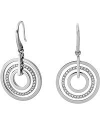 Michael Kors Silver-Tone Encrusted Circle Drop Earrings - Lyst