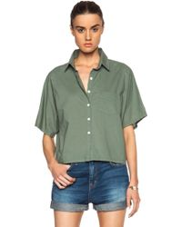 Band of Outsiders Batiste Cropped Button Up - Lyst