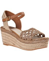 Tory Burch Solemar Wedge Espadrille Gold Leather - Lyst