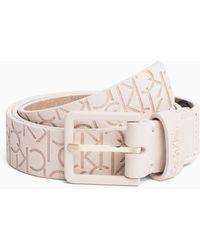 Calvin Klein - Logo Embossed Leather Belt - Lyst