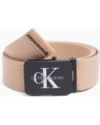 Calvin Klein - Canvas Plaque Belt - Lyst