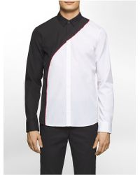 CALVIN KLEIN 205W39NYC - Platinum Platinum Skinny Fit Colorblock Shirt - Lyst