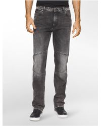 Calvin Klein Jeans Slim Straight Capri Moto Jeans - Gray