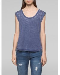CALVIN KLEIN 205W39NYC - Faded Rolled Sleeve Top - Lyst