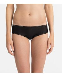 358bfb0d4763 Calvin Klein Sheer Marquisette Thong - Womens L in Black - Lyst