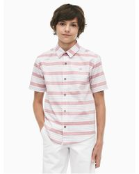 Calvin Klein - Boys Yarn-dyed Stripe Short Sleeve Shirt - Lyst
