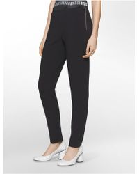 Calvin Klein - Platinum Platinum Piper Extreme Skinny Side-zip Cropped Pants - Lyst