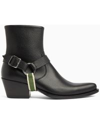 CALVIN KLEIN 205W39NYC - Tex Harness Boots In Grainy Calf Leather - Lyst