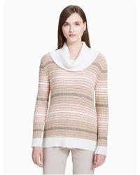 CALVIN KLEIN 205W39NYC - Mixed Stripe Cowl Neck Top - Lyst