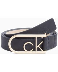 Calvin Klein - Ck Rounded Buckle Leather Belt - Lyst