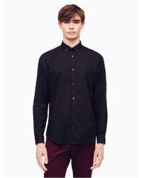 Calvin Klein - Classic Fit Herringbone Slub Roll-up Shirt - Lyst