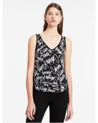 Calvin Klein | Jeans Scribble Logo Material Mix Top | Lyst