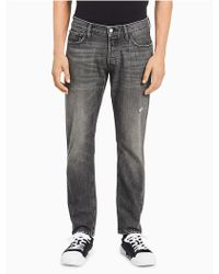 Calvin Klein - Straight Tapered Faded Grey Jeans - Lyst