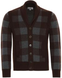 Canali - Bordeaux And Gray Virgin Wool Check Cardigan - Lyst