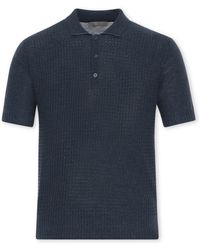 Canali - Navy Blue Textured Cotton Pique Polo Shirt With Micro Motif - Lyst