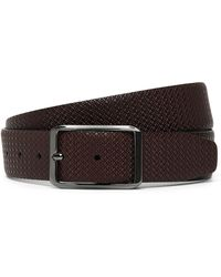 Canali - Dark Brown Reversible Leather Belt With Texture - Lyst