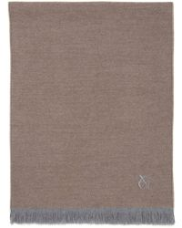 Canali - Beige And Gray Wool Reversible Scarf - Lyst