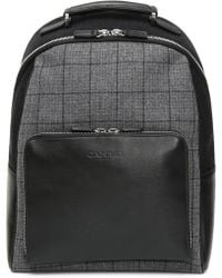 Canali - Black Leather Backpack With Black And Gray Check Fabric Inserts - Lyst