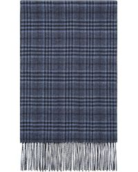 Canali - Blue Silk And Cashmere Reversible Scarf With Prince Of Wales Check - Lyst