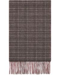 Canali - Bordeaux Silk And Cashmere Reversible Scarf With Prince Of Wales Check - Lyst