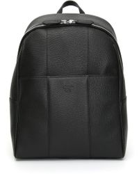Canali - Black Tumbled Leather Backpack With Two-way Zipper - Lyst