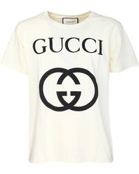 c0a7f6f85 Gucci - Oversized Cotton Jersey T-shirt With Gg Print - Lyst