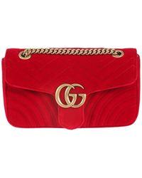 5caeb4a776e32c Gucci Velvet Marmont Belt Bag in Blue - Lyst