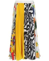 MSGM - Pleated Multicolored Skirt - Lyst