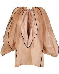 Genny - Contrast Piping Blouse - Lyst