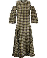 b398095f Ganni Charron Ruffled Checked Coated Cotton-blend Seersucker Wrap Dress in  Blue - Lyst