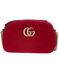c5d440c0a Gucci Mini Marmont Chevron Shoulder Bag in Red - Lyst